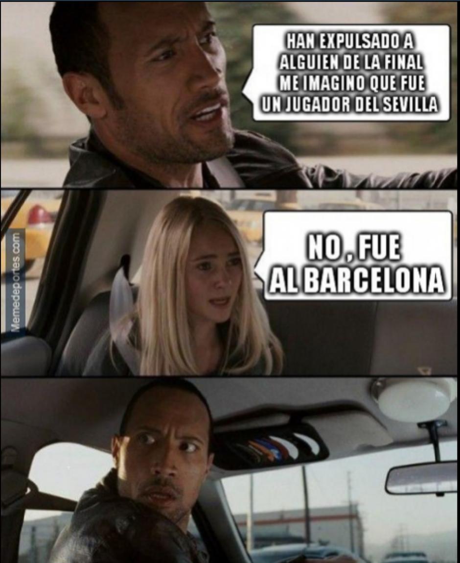 Cuando el expulsado no es del Sevilla si no de Barcelona.