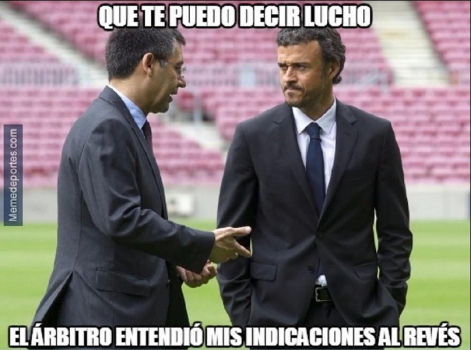 Luis Enrique pide explicaciones a su presidente según este meme.