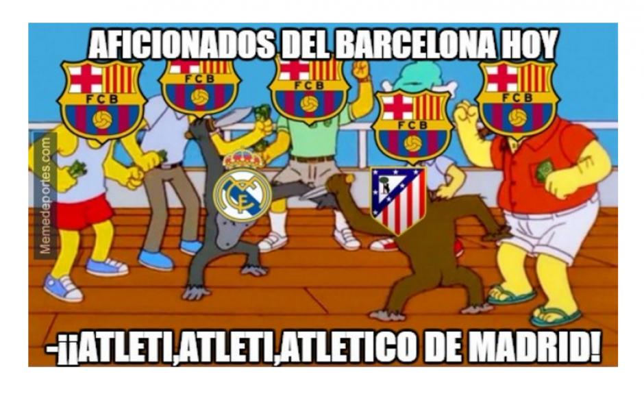 Muchos aficionados del Barcelona le iban al Atlético. (Foto: MemeDeportes)