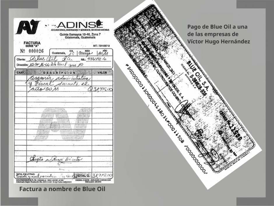 Los cheques de Blue Oil y factura a su nombre, documentos del contador de Juan Carlos Monzón. (Foto: CICIG)