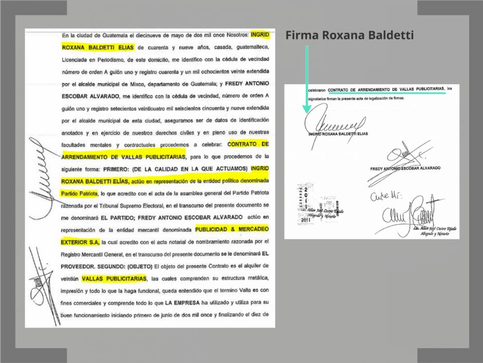 Con el dinero de Blue Oil, Baldetti habría comprado vallas publicitarias. (Foto: CICIG)