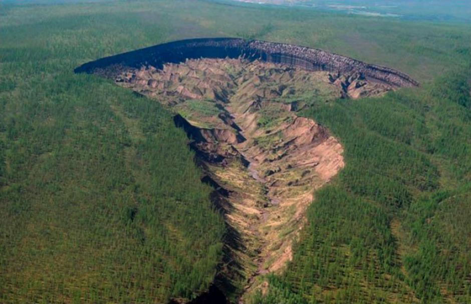 El cráter siberiano ha revelado cómo el suelo ha cambiado en 200 mil años. (Foto. rt.com.es)