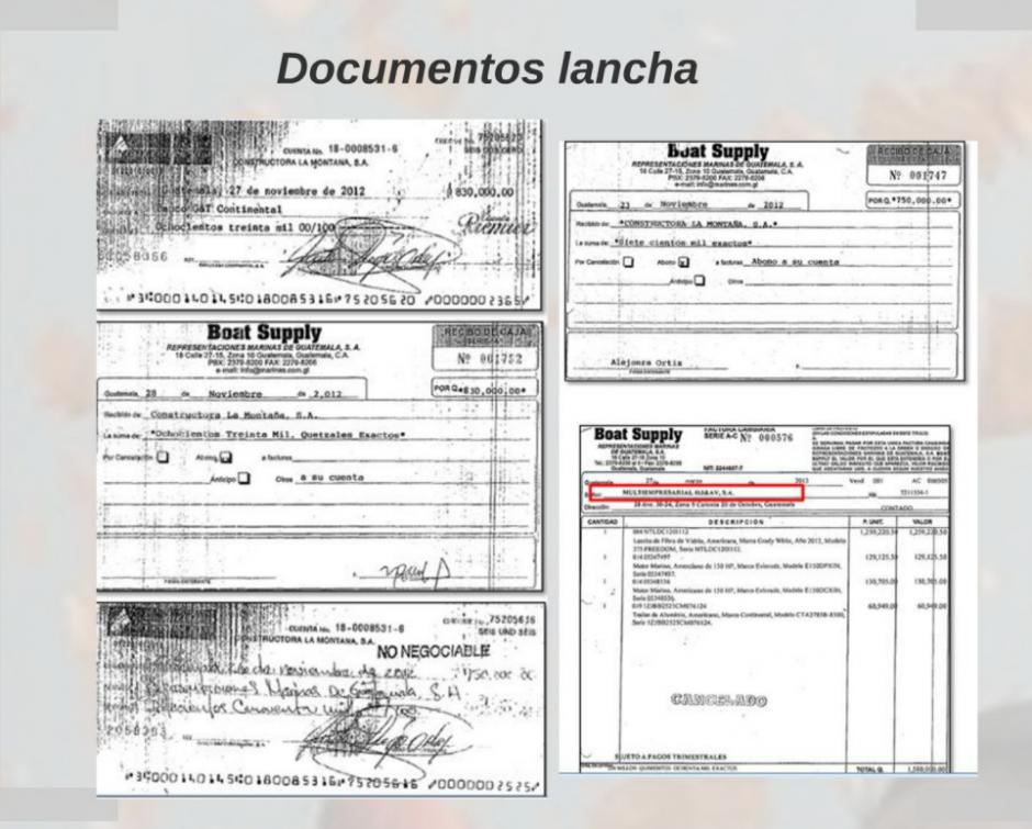 Estos son los documentos de la compra de la lancha para Pérez Molina. (Foto: Captura de Presentación/MP)