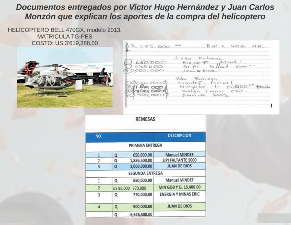 Este es uno de los documentos que explican los aportes para la compra del helicóptero.  (Foto: Captura de Presentación/MP)
