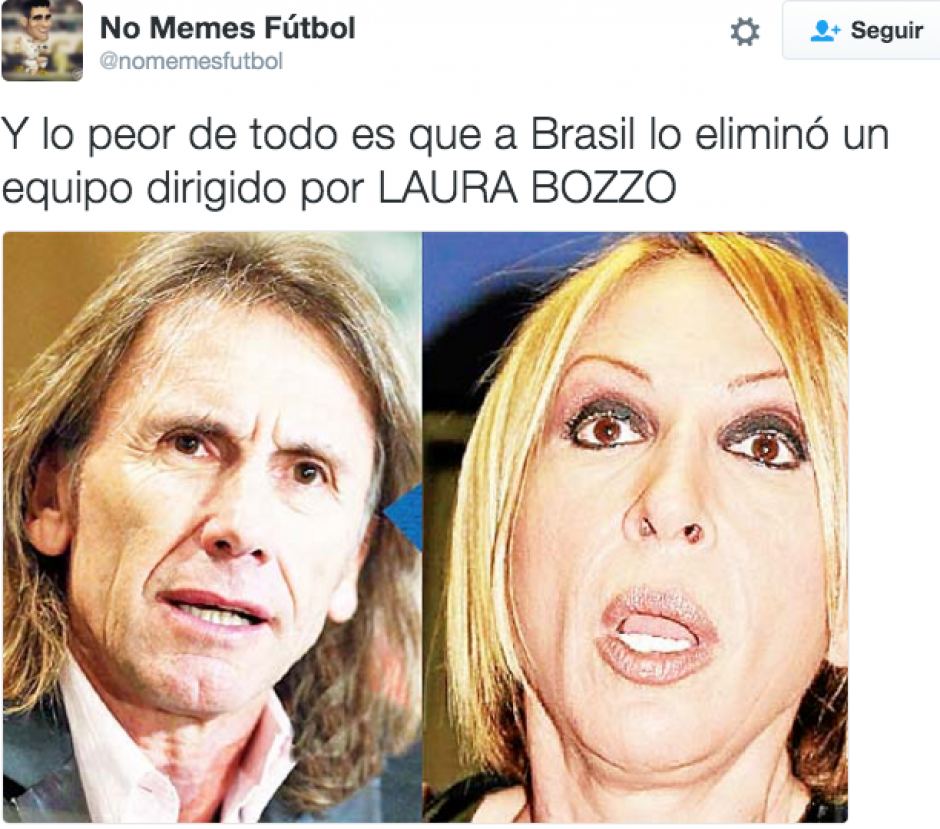 El parecido físico del entrenador de Brasil, Ricardo Gareca, con Laura Bozzo fue resaltado por los internautas. (Foto: @nomemesfutbol/Twitter)