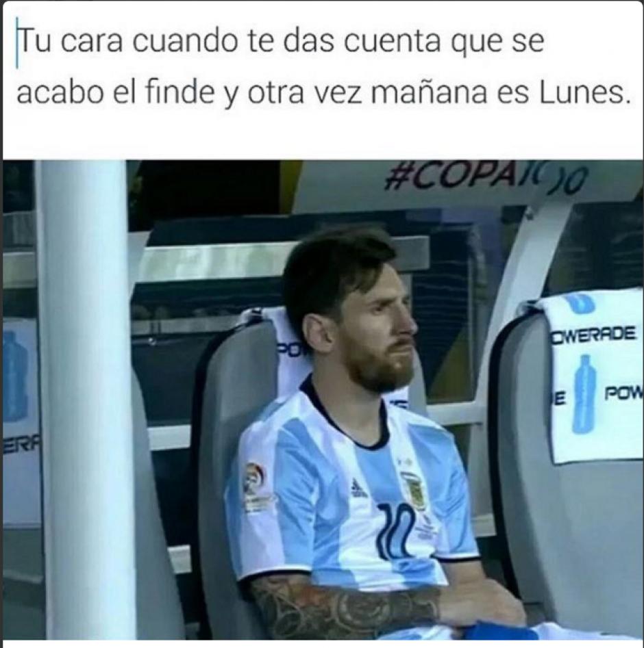 Messi sabe que la felicidad se acaba cuando llega el lunes. (Foto: Twitter)