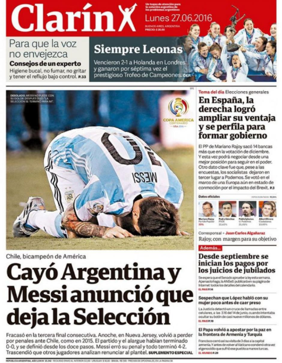 """""""Cayó Argentina y Messi anunció que deja la selección"""", Clarín"""