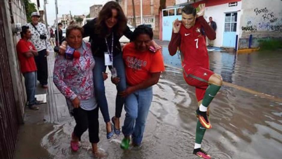 Hasta se incluyó a Cristiano Ronaldo dentro de la fotografía de la reportera. (Foto: Twitter)