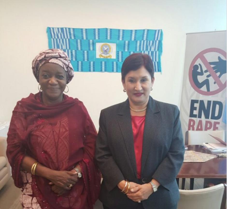 Aldana se reunió con la representante especial del Secretario General de la ONU sobre la violencia sexual en los conflictos, Zainab Hawa Bangura. (Foto: MP)