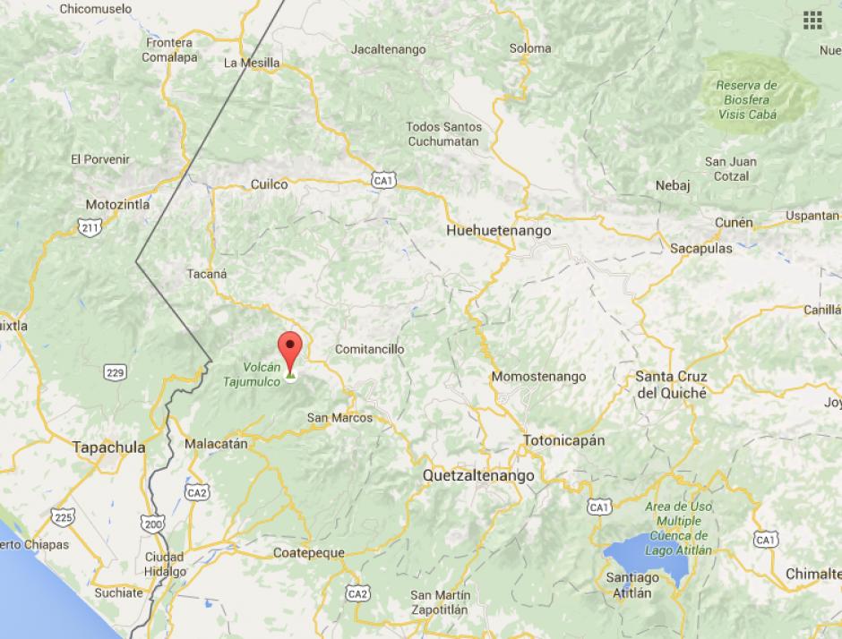 Este es el mapa donde se ubica el volcán Tajumulco. (Imagen: Google)