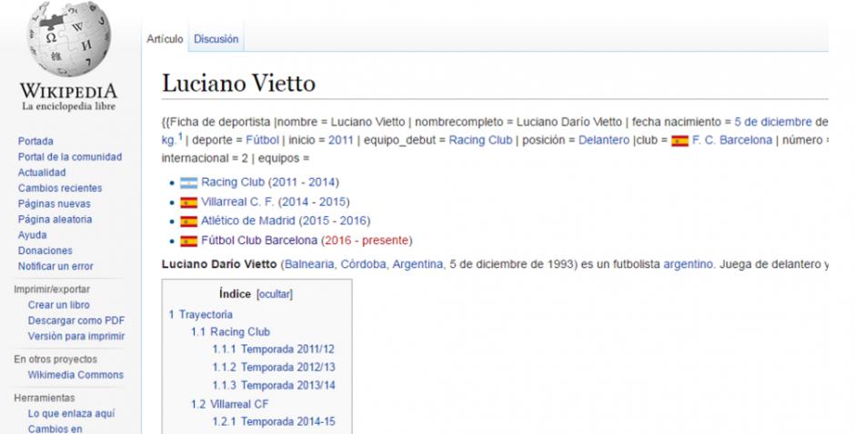 Así aparecía la página de Wikipedia, que daba por hecho que Vietto ya es del Barça (Foto: Twitter)