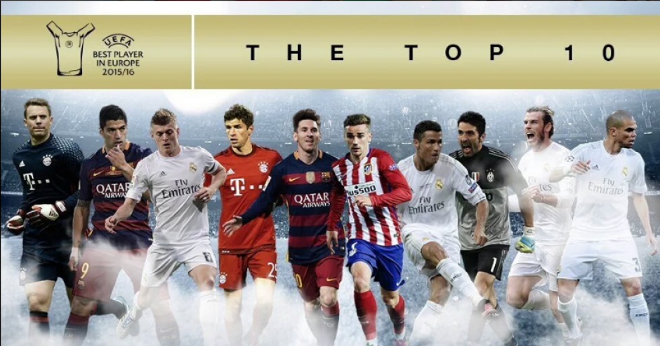La imagen que publicó la UEFA con los 10 candidatos. (Foto: UEFA.com)