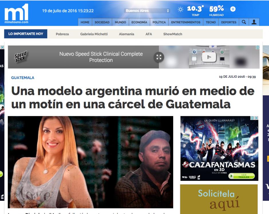 Minuto Uno es uno de los principales diarios argentinos donde se difundió la nota.