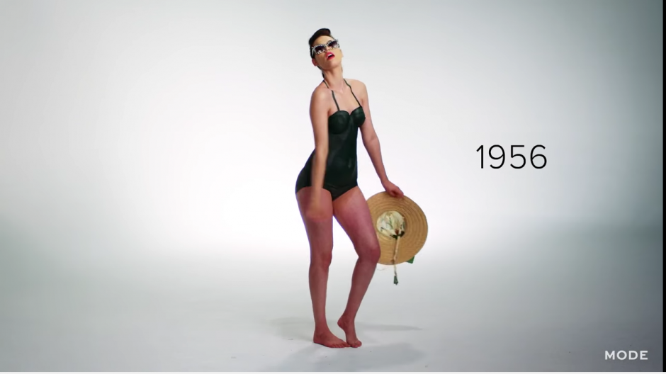 En 1956, los lentes de sol se incluyen como parte de los accesorios para ir a la playa. (Captura YouTube)