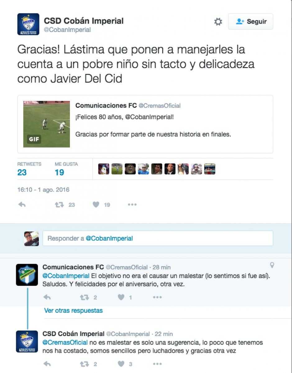 Esta fue la respuesta de la cuenta oficial de Cobán Imperial. (Foto: Twitter)