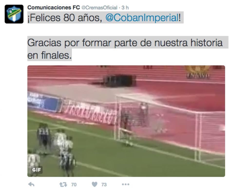 Este fue el tuit de Comuncaciones a Cobán que provocó diversas reacciones. (Foto: Twitter)