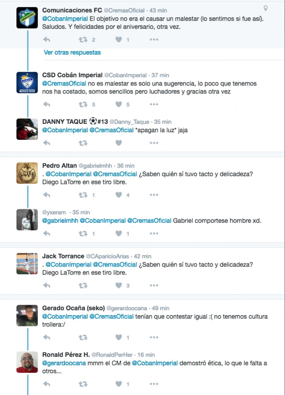 @CremasOficial se disculpa y @CobanImperial responde, si embargo el debate ya estaba encendido en las redes. (Foto: Twitter)