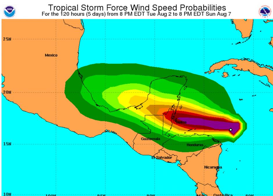 Esta es la ruta de la tormenta tropical Earl. (Foto: NHC)