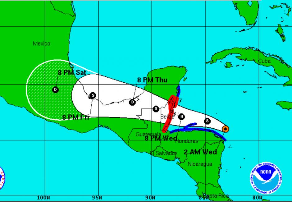 Según el Centro Nacional de Huracanes llegará a Belice la noche de este miércoles. (Foto: NHC)