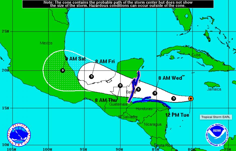 """La tormenta tropical """"Earl"""" se formó en las aguas del Caribe este martes. (Foto: nhc.noaa.gov)"""