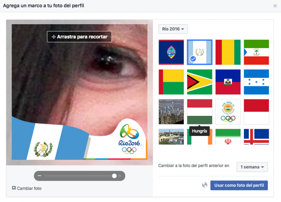 La herramienta funciona para modificar tu imagen de perfil. (Captura de pantalla de Facebook)