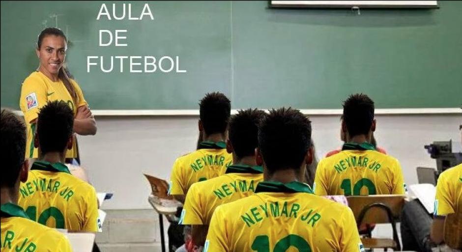 La escuela de fútbol, con Marta como profesora y Neymar como alumno. (Foto:Twitter)