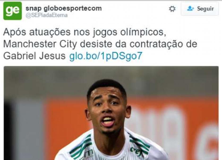 Guardiola cancelará el fichaje de Gabriel Jesús por el City, dicen en broma. (Foto:Twitter)
