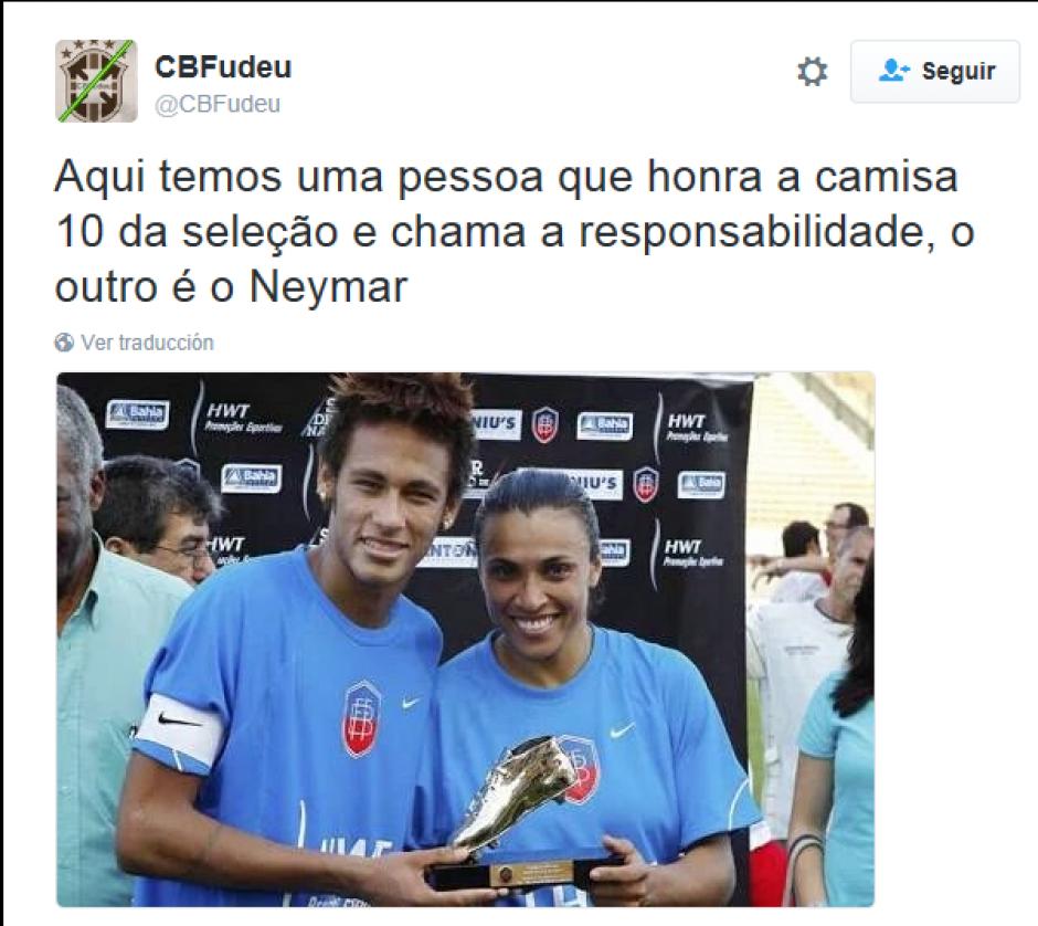 """""""Aquí hay un futbolista que respeta la selección, el otro es Neymar"""", dice este Tweet. (Foto:Twitter)"""