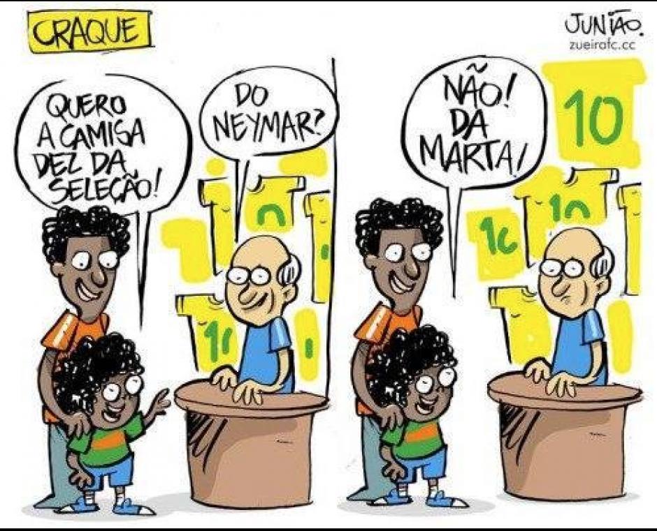 ¿Quieres tu camisa de Neymar? No, de Marta. (Foto:Twitter)