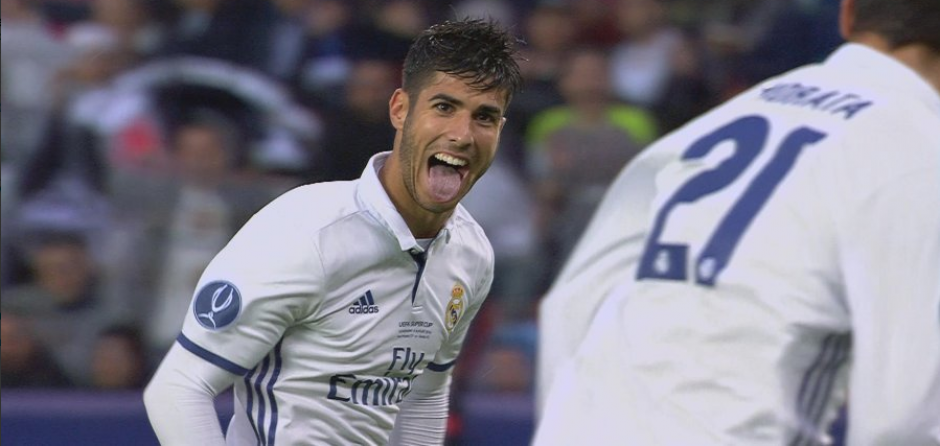 Asensio celebra su golazo con Morata. (Foto: BeInSports España)