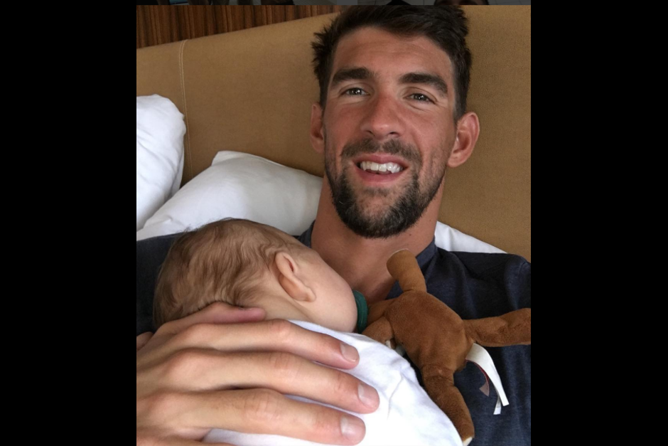 Michael Phelps y su adorable hijo Bommer. (Foto: Instagram)