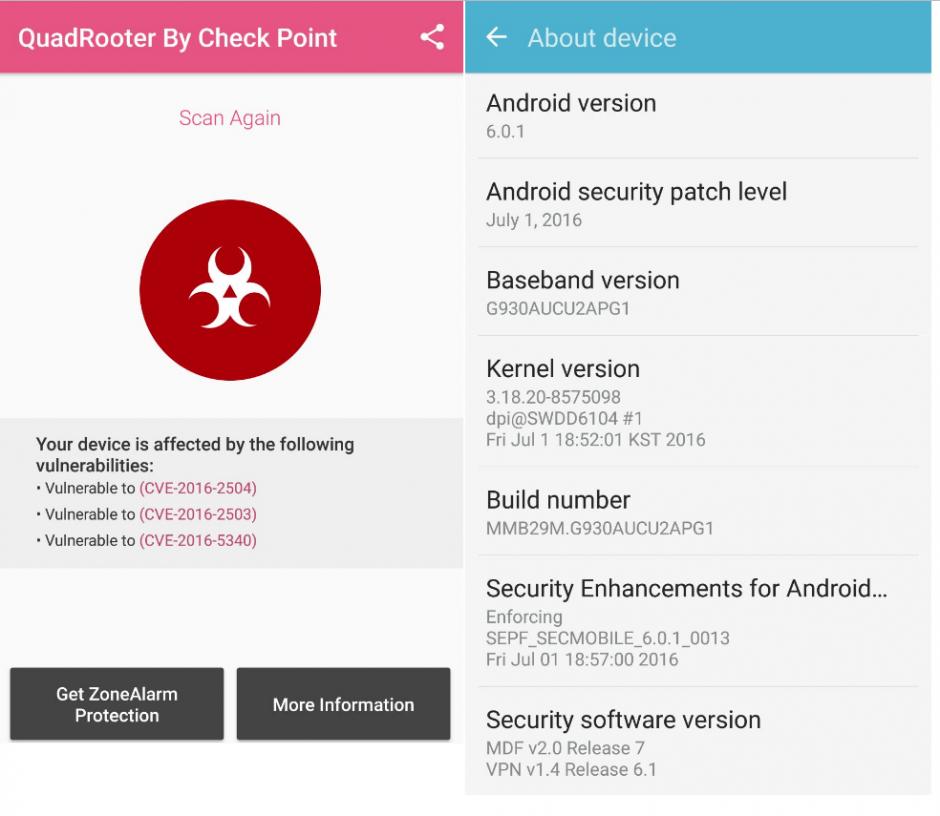 Especificaciones de un dispositivo Samsung Galaxy S7 . (Foto: Check Point)
