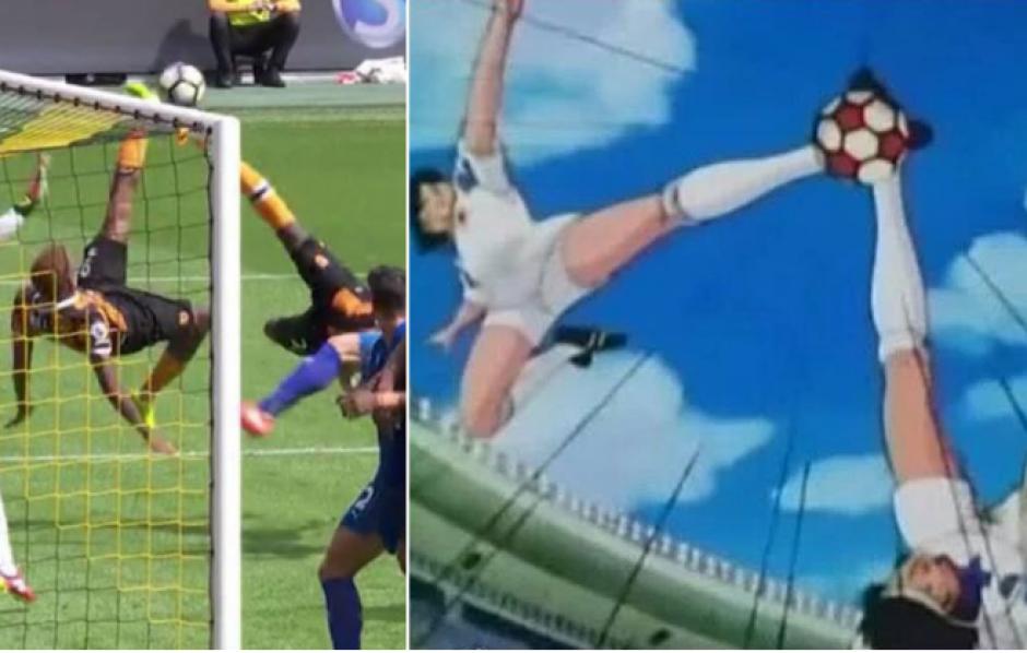 La comparación entre el gol del Hull y el de Oliver y Benji. (Fotoarte: MARCA.com)
