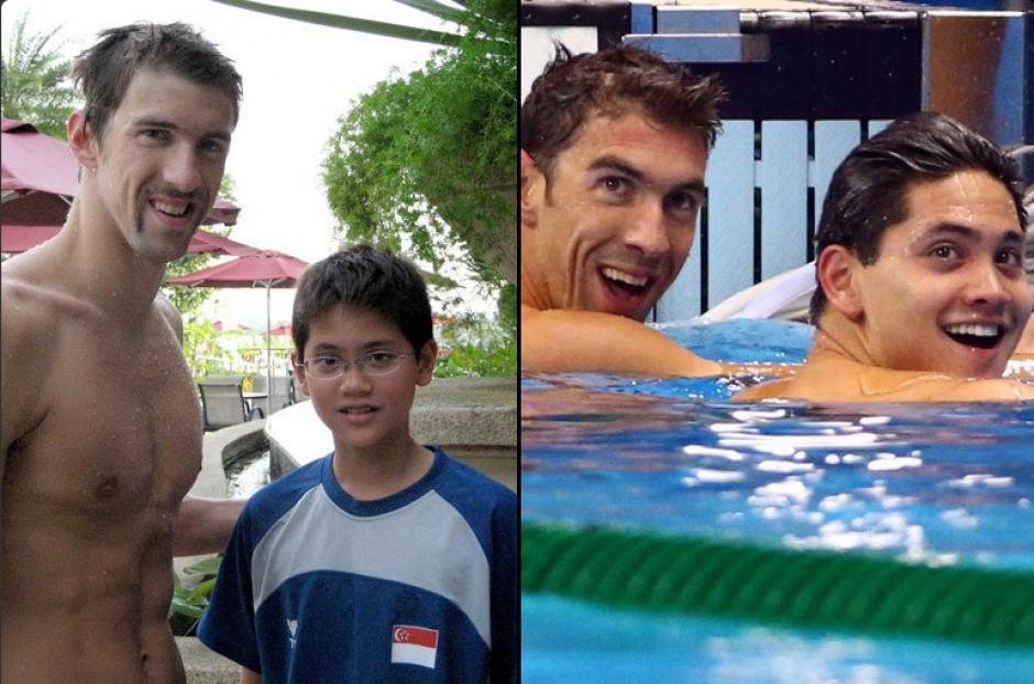 Joseph Schooling, en 2008 y 2016 con Phelps. (Foto: Twitter)