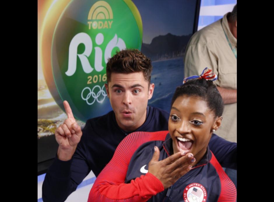 """La cuatro veces campeona olímpica es fan del actor de """"High School Musical"""". (Foto: Twitter/@Simone_Biles/@ZacEfron)"""