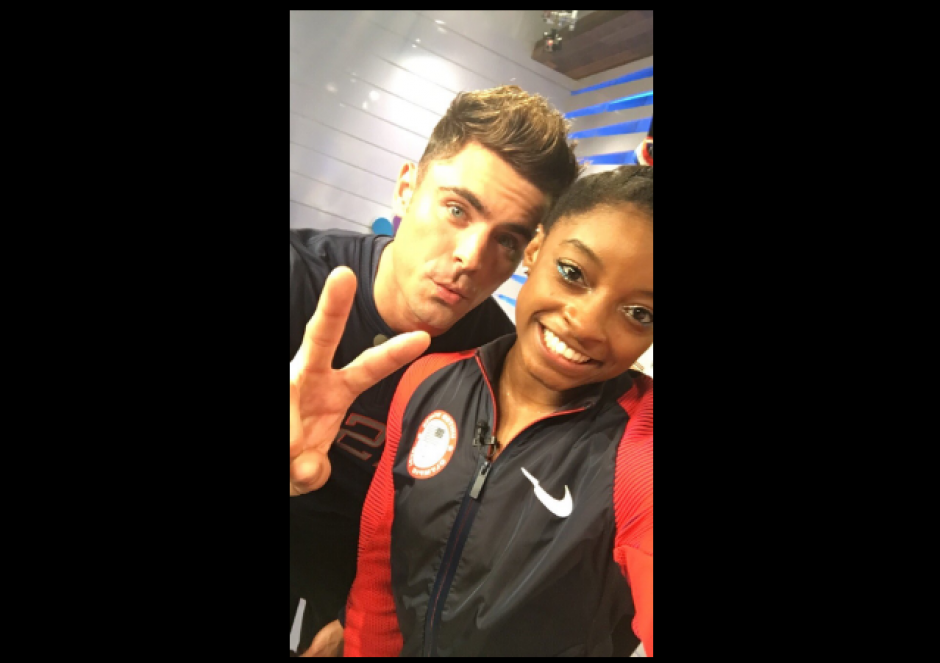 La deportista logró cuatro medallas de oro y una de bronce. (Foto: Twitter/@Simone_Biles/@ZacEfron)