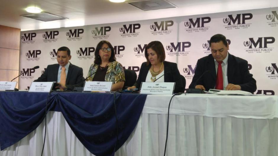 Autoridades del Ministerio Público y del Ministerio de Gobernación ofrecieron detalles en una conferencia de prensa. (Foto: MP)