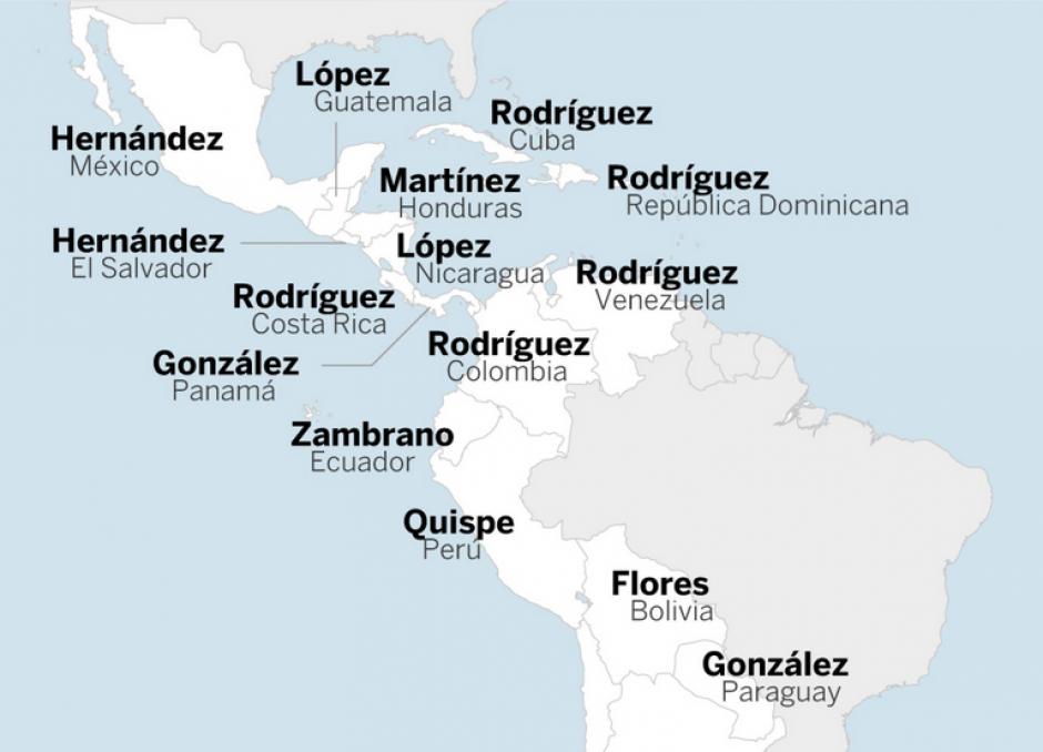 Sin embargo, Rodríguez es el apellido que más se repite en Latinoamérica. (Foto: El País)