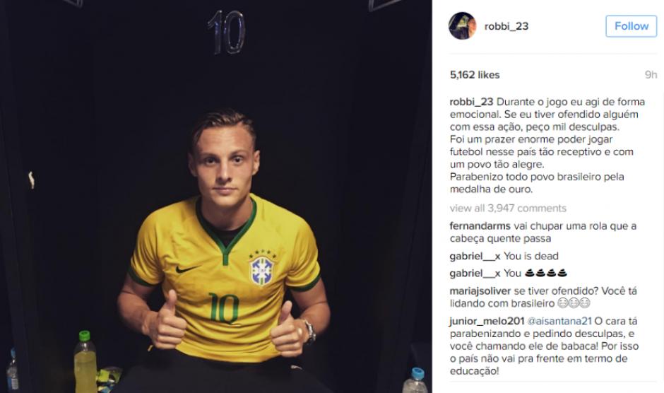 Así pidió disculpas Robert Bauer en su Instagram. (Foto: Instagram)