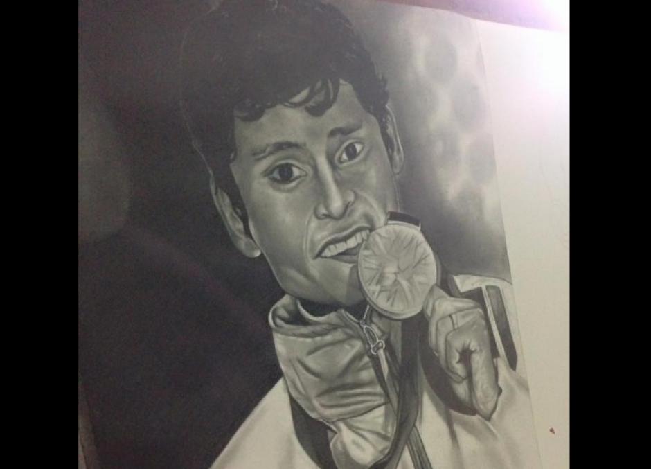 El medallista olímpico Erick Barrondo también fue retratado. (Foto: Facebook/Alejandro Requena)