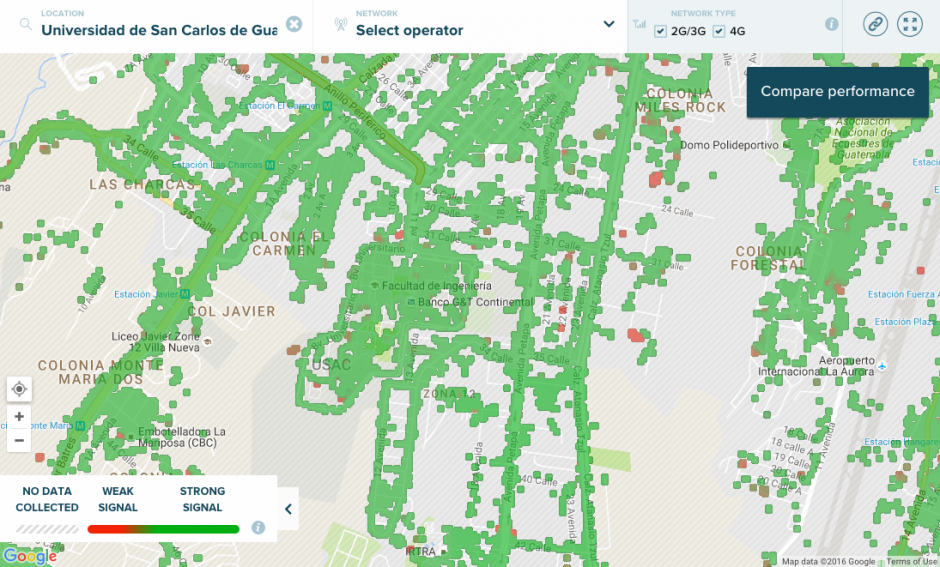 Este es el mapa de señal de celular en la ciudad de Guatemala. (Foto: Captura de Pantalla/Open Signal)