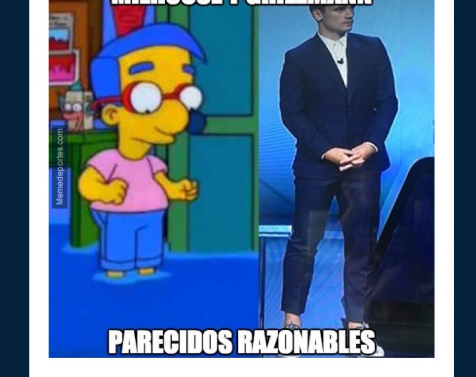 Antoine Griezmann fue comparado con Milhouse por sus pantalones.  (Foto: MemeDeportes)