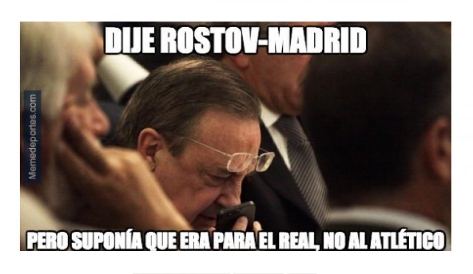 """El presidente del Real Madrid """"pidiendo"""" un equipo fácil. (Foto: MemeDeportes)"""