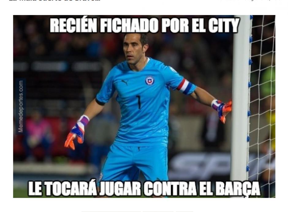 Claudio Bravo se va del Barcelona al Manchester City. (Foto: MemeDeportes)
