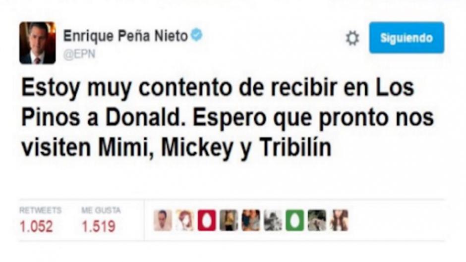 """Imágenes con montajes en la cuenta del Presidente de México también fueron utilizados en los """"memes"""". (Foto: Twitter/ http://rpp.pe/)"""
