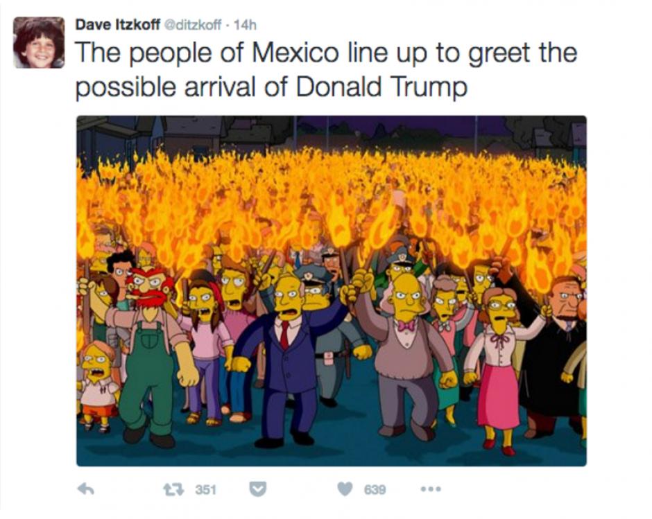 """La peculiar escena de los Simpsons también fue utilizada en los """"memes"""". (Foto: Twitter/ http://rpp.pe/)"""