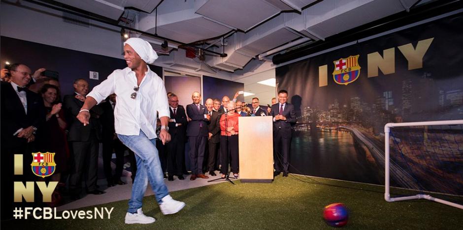 Un gol de Dinho inauguró la nueva oficina azulgrana en NYC. (Foto: FCB)
