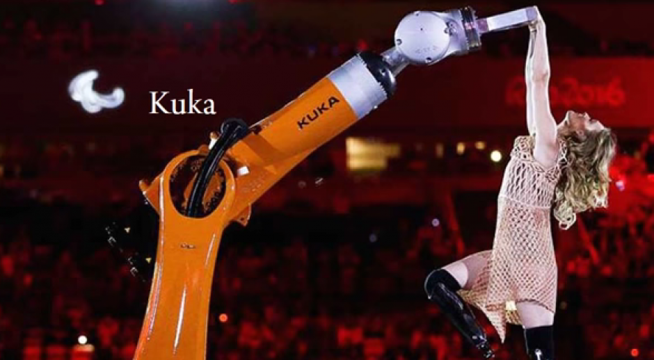 Purdy bailó con un robot y lució sus prótesis. (Imagen: Captura de pantalla)