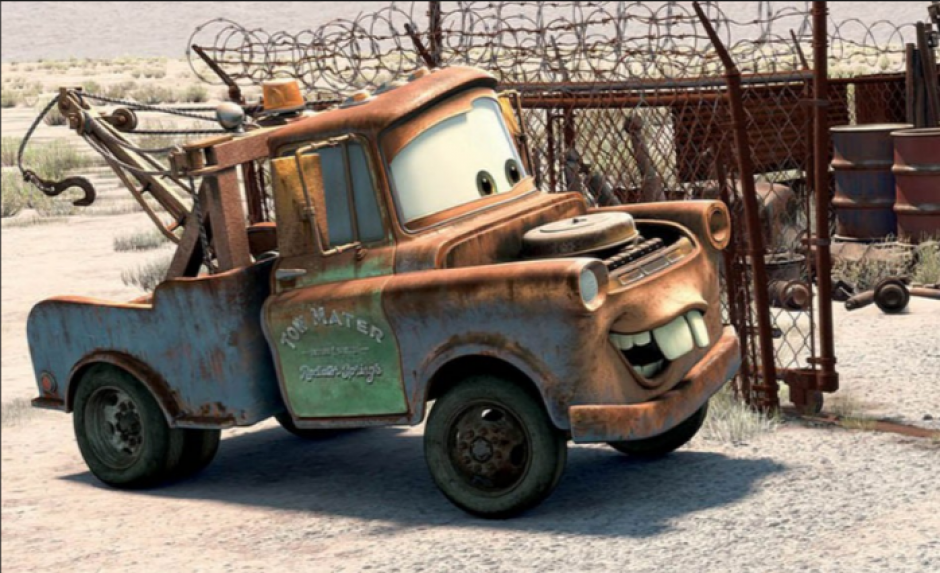 Mate es un carro oxidado que funciona como grúa en la famosa película. (Foto: cars.disney.com)