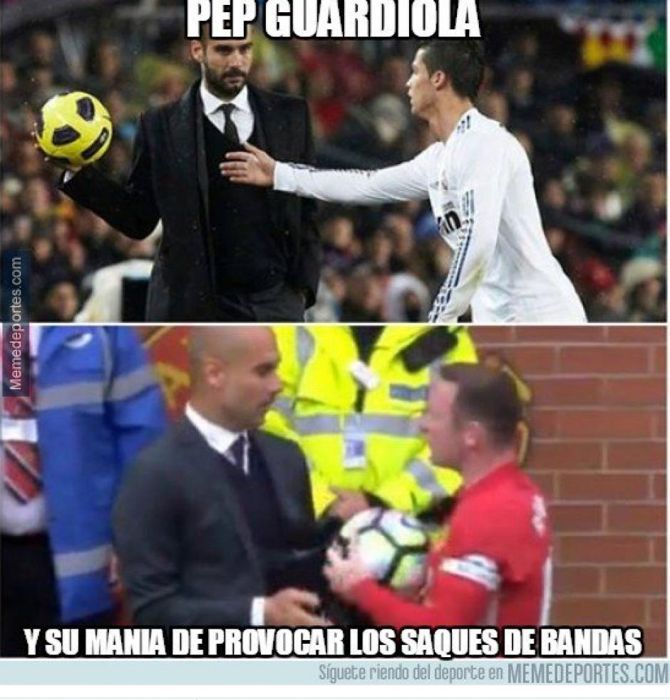 Guardiola volvió a evitar un saque de banda. (Foto: Twitter)
